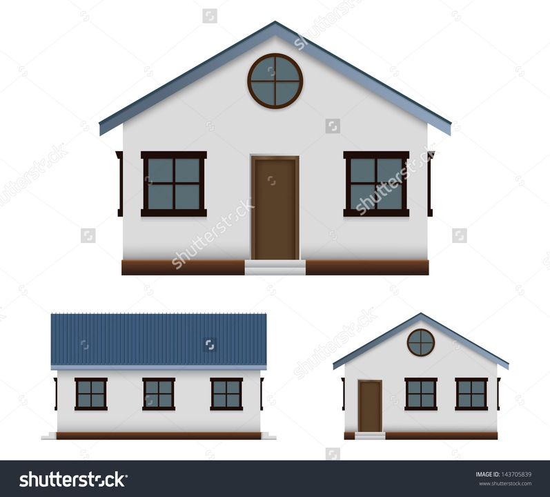 Clipart Of Three Houses Side By Side.