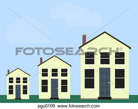 Stock Illustration of Three homes ascending in size pgu0109.