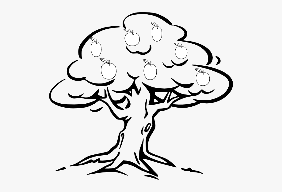 Apple Tree Clipart Black And White.
