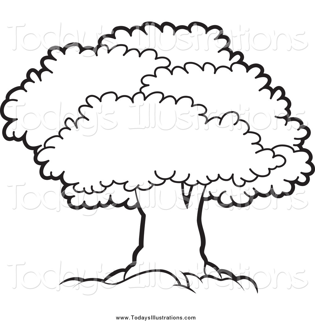 Black And White Clipart Of A Tree.
