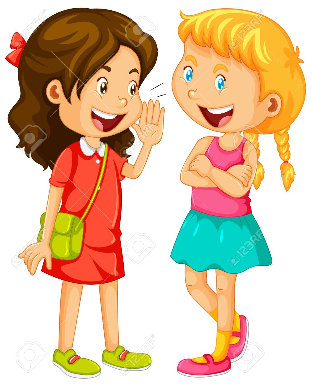 Two girls gossipping on white background illustration.