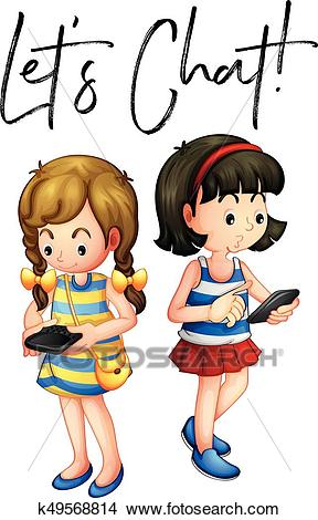 Two girls chat on phone Clipart.