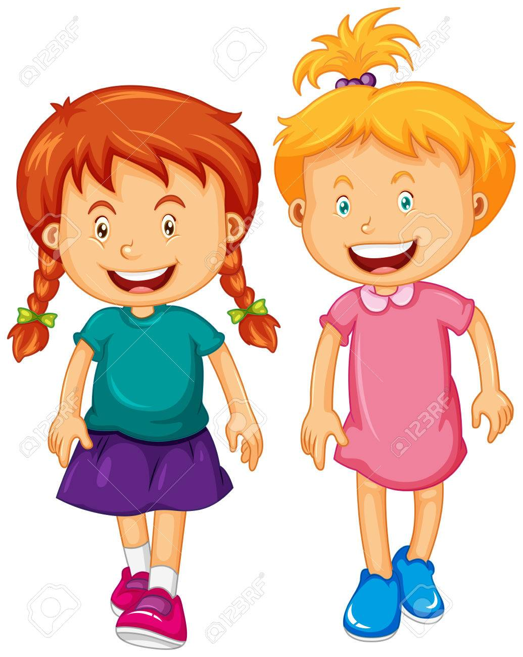 Two girls with happy face illustration.