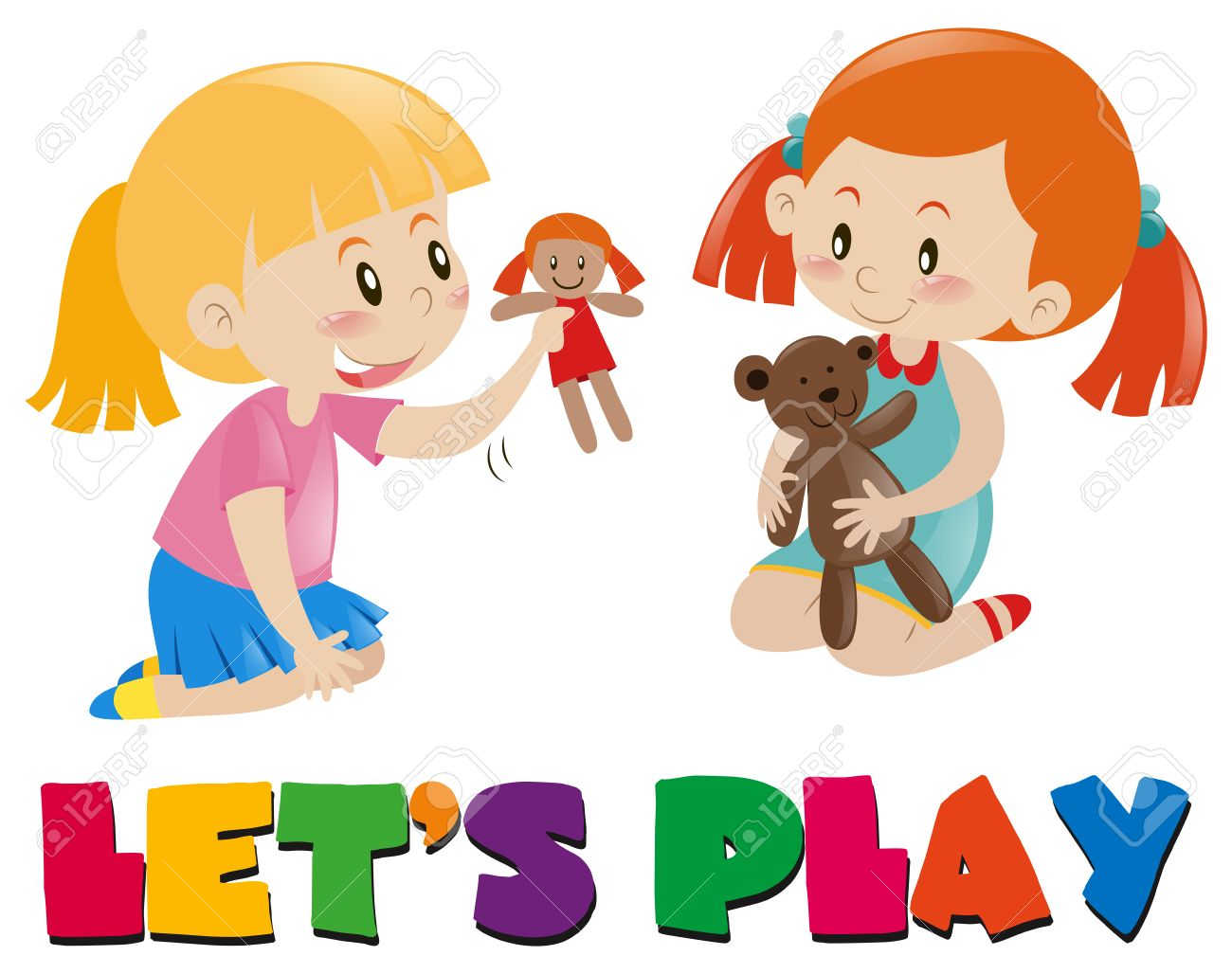 Two girls playing with dolls illustration.