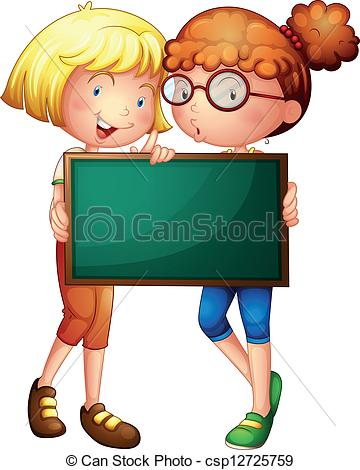 Two girls holding a green board.