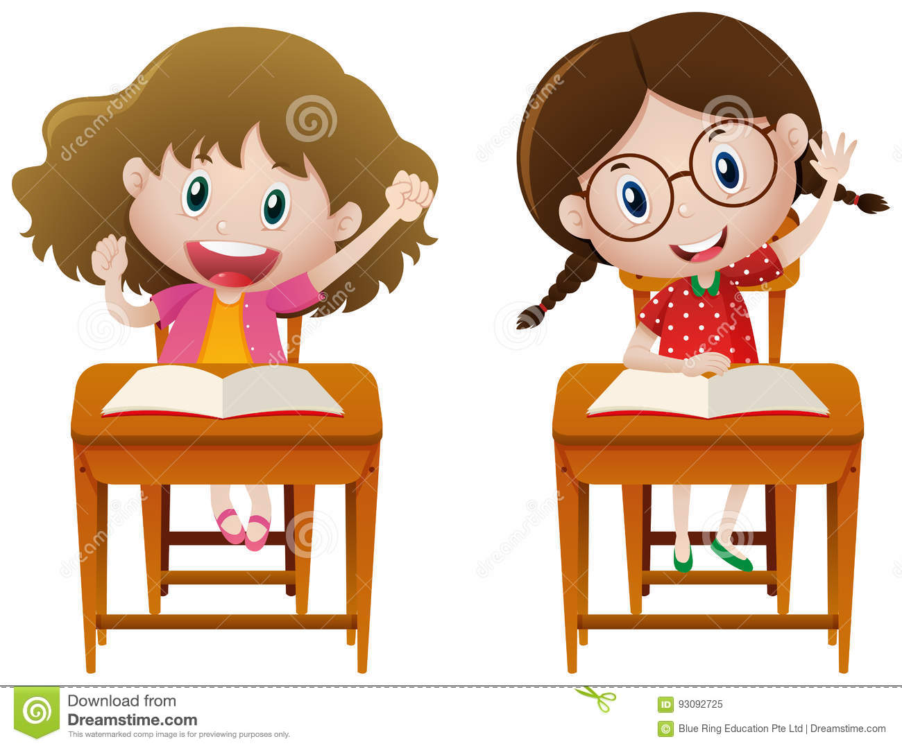 Two Girls Studying In Class Stock Vector.