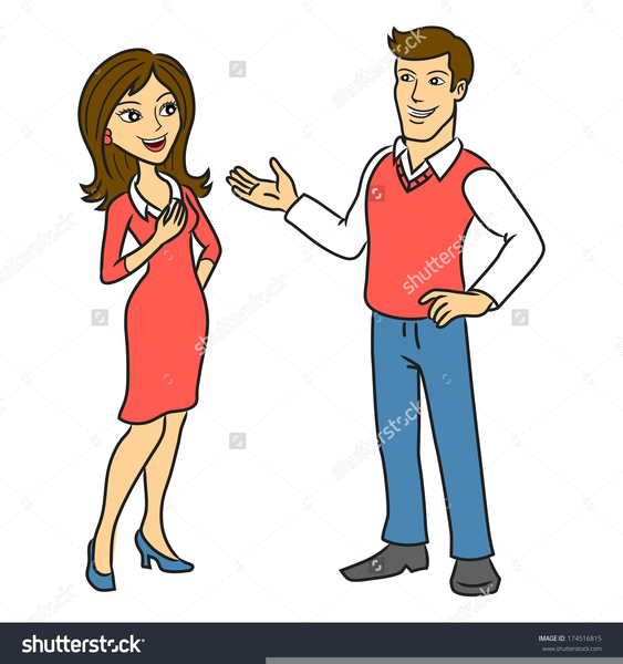 Clipart Two Persons Talking.