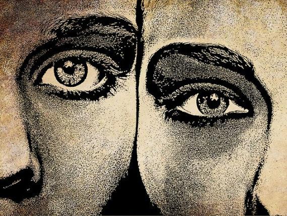womans face blue eyes lipstick original digital art print makeup.