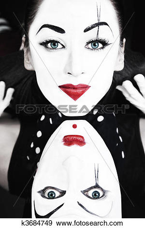 Stock Photograph of two mimes with blue eyes k3684749.