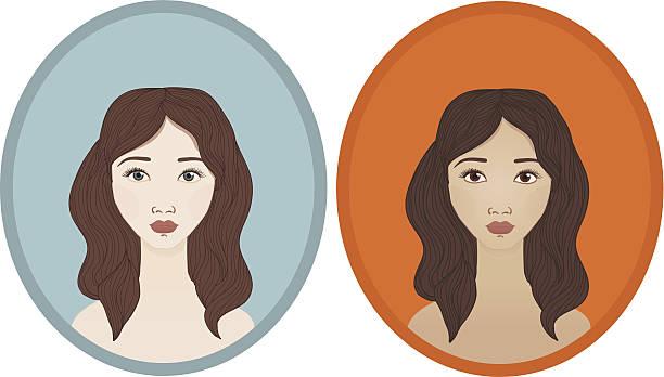 Pretty Girl With Brown Hair And Blue Eyes Cartoon Clip Art, Vector.