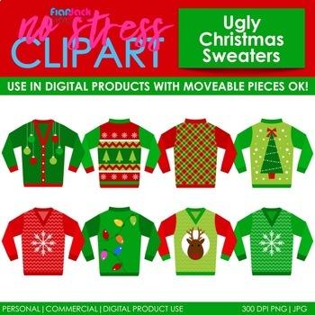 Ugly Christmas Sweaters Clip Art (Digital Use Ok!).