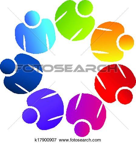 Clip Art of Teamwork united people logo k17900907.