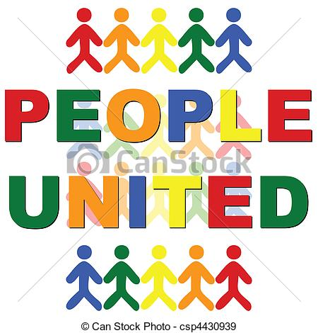 Clipart Vector of People United.