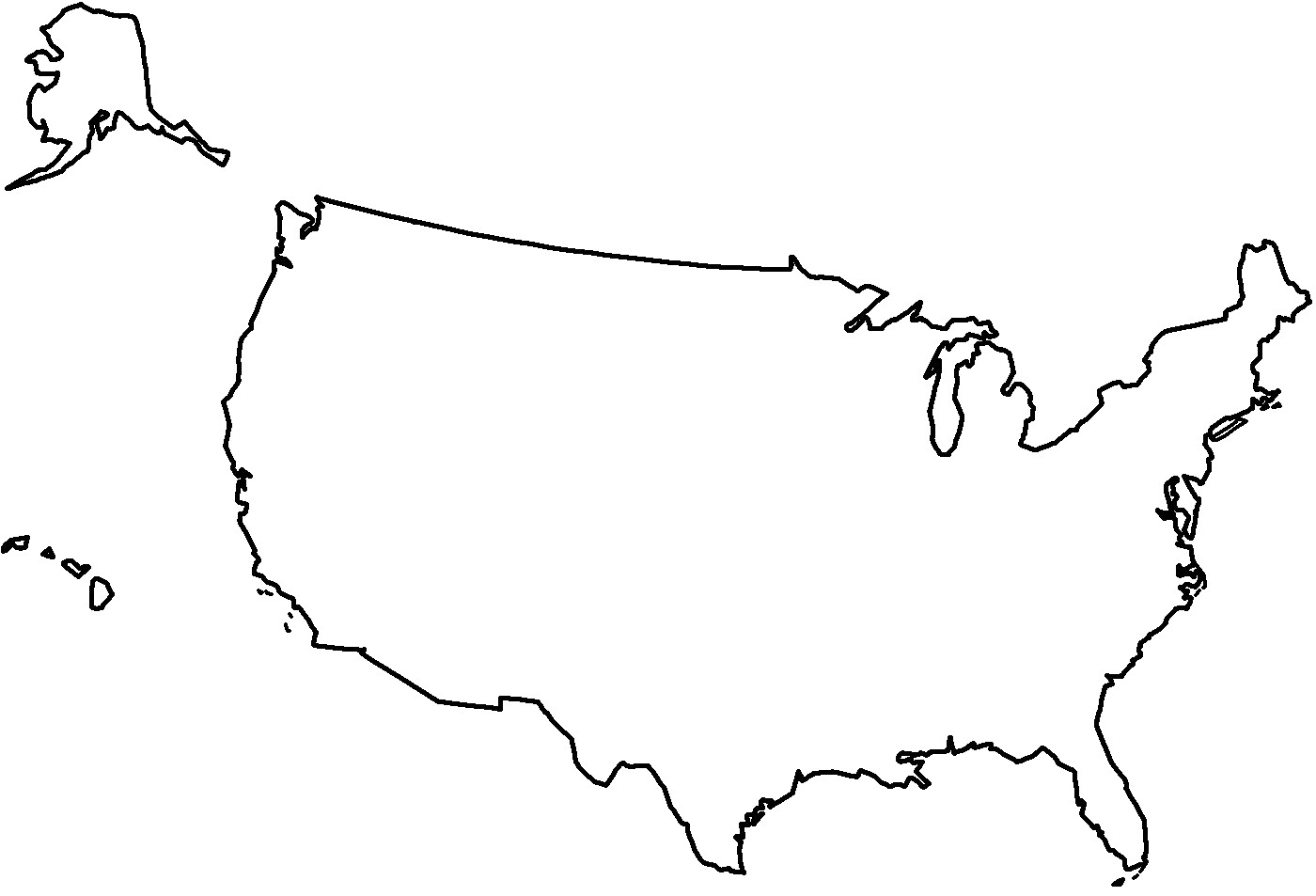 Clipart Of United States Map Outline Us #83471.