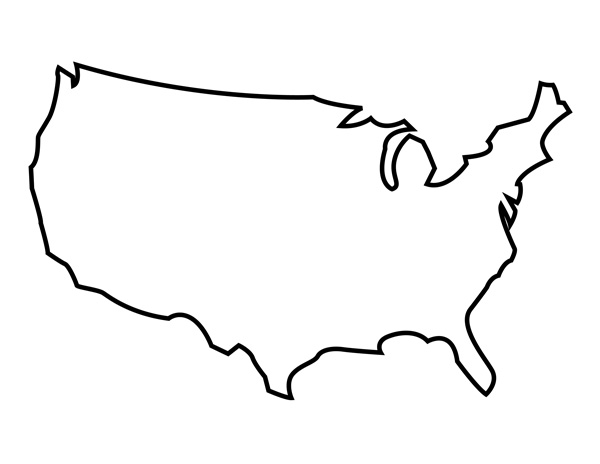Interesting Us Country Outline Black Map Of United States.