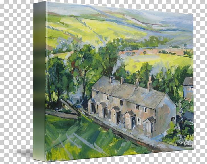 Tockholes Watercolor painting Art Lancashire, Village scene.