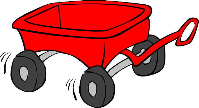wagon, cart, trolley, kid, toy, red.