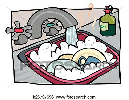 Washing the dishes Clip Art.