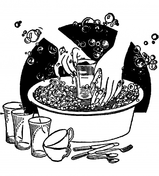 Washing Dishes Vintage Clipart Free Stock Photo.