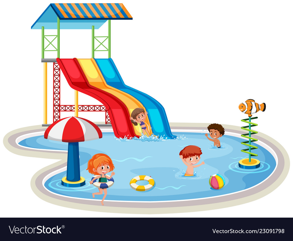 Children at isolated water park.