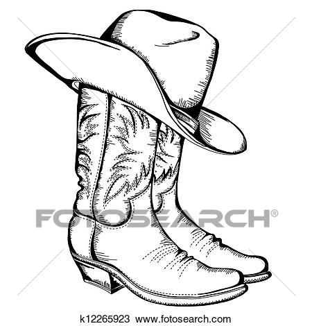 Cowboy boots and hat. Vector graphic illustration isolated.