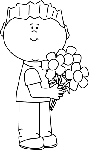 Black and White Boy Holding a Valentine's Day Floral Bouquet Clip.
