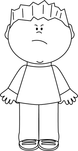 Black and White Boy with an Angry Face Clip Art.