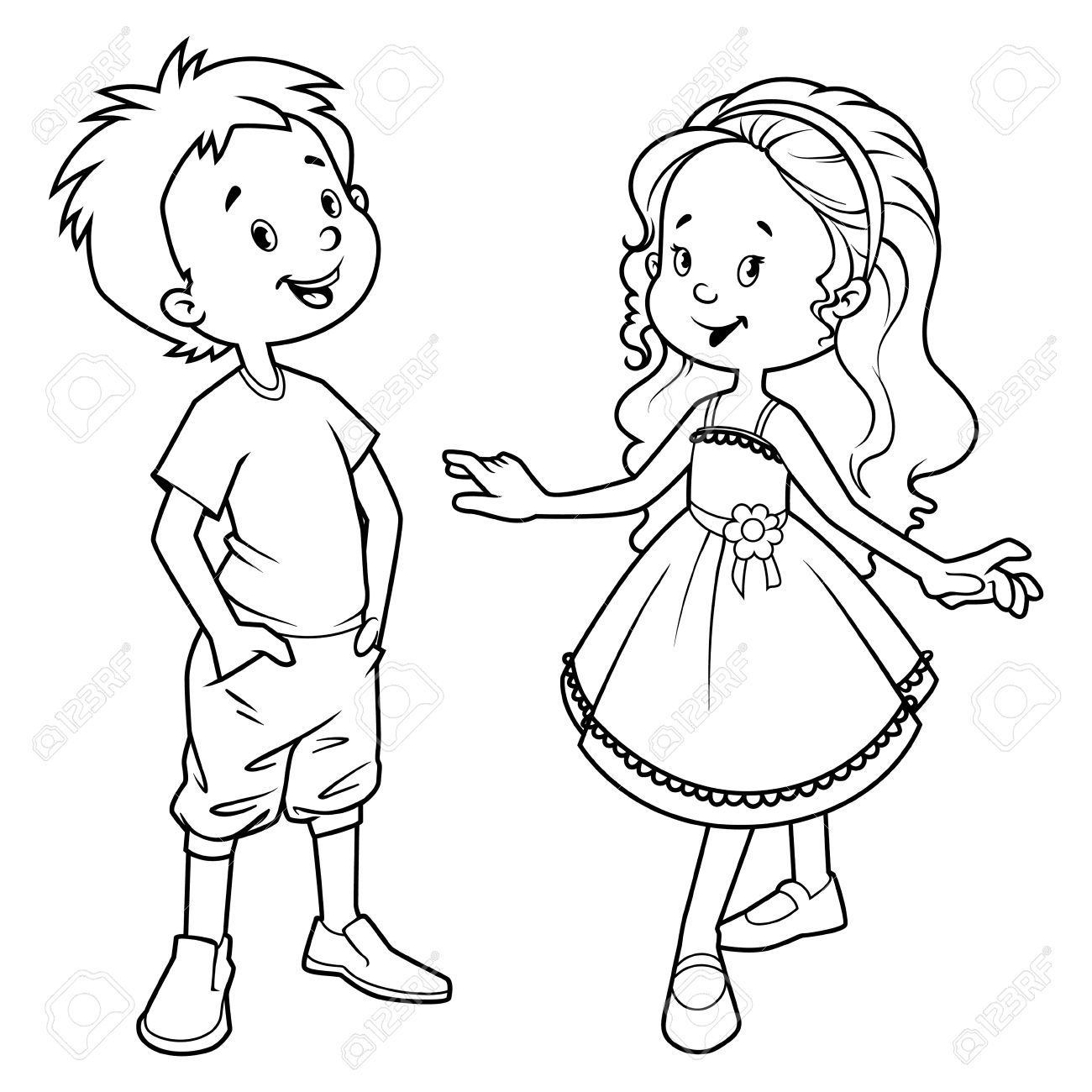 Girl And Boy Clipart Black And White.