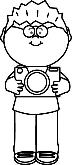 Black and White Boy with Camera Clip Art.