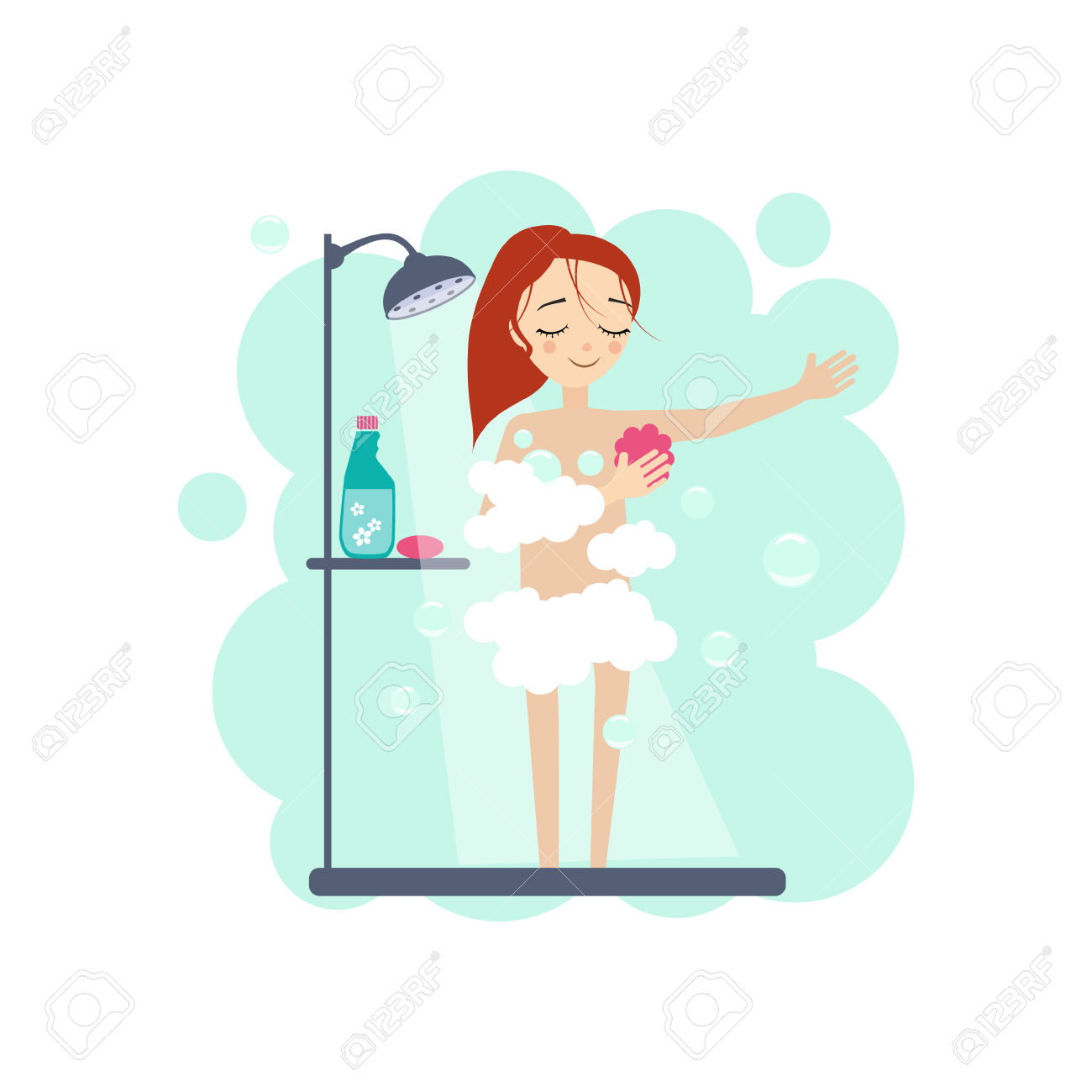 Taking A Shower. Daily Routine Activities Of Women. Colourful.