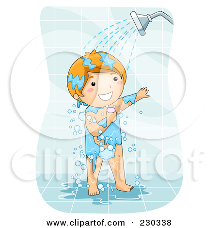 Woman Taking A Shower Clipart.