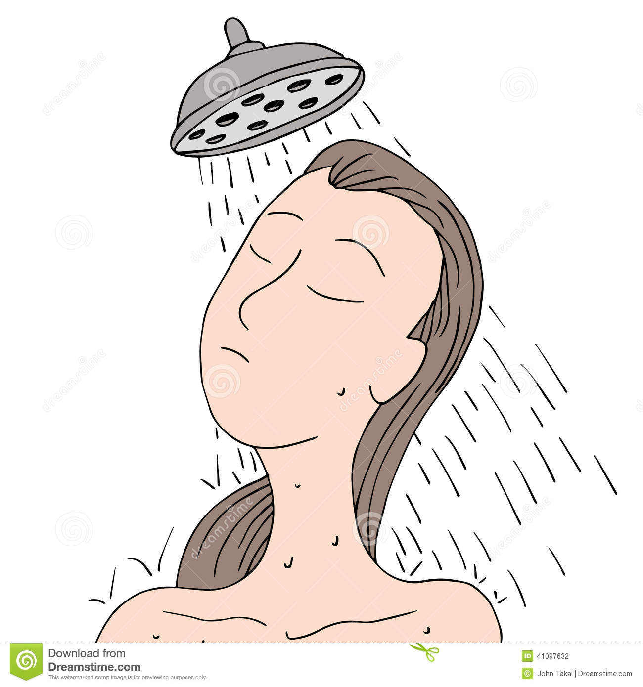Girl Taking Shower Clipart.
