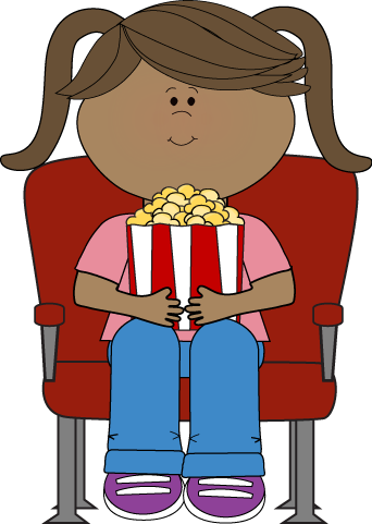 clipart of woman watching movies and drinking coffee
