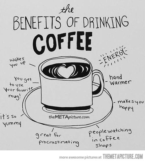 The benefits of drinking coffee….