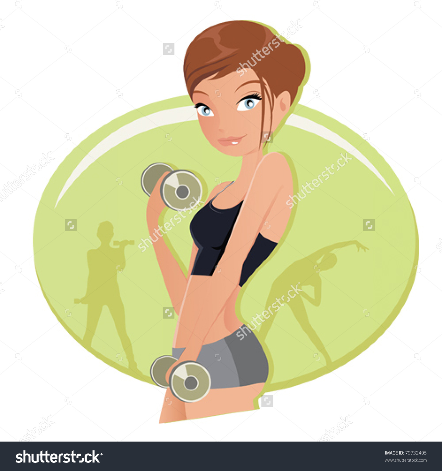 Illustration Fitness Woman Working Out Dumbbells Stock Vector.