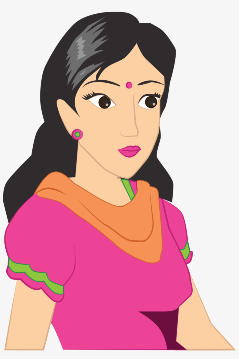 Cartoon Women In Saree Png Clipart Woman Cartoon Clip.