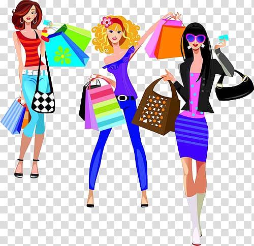 Online shopping Fashion illustration, Cartoon fashionable.