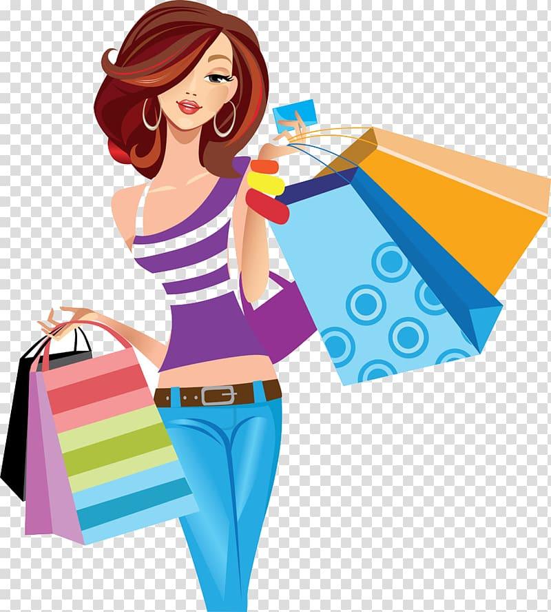 Woman carrying shopping bag illustration, Shopping , Women.