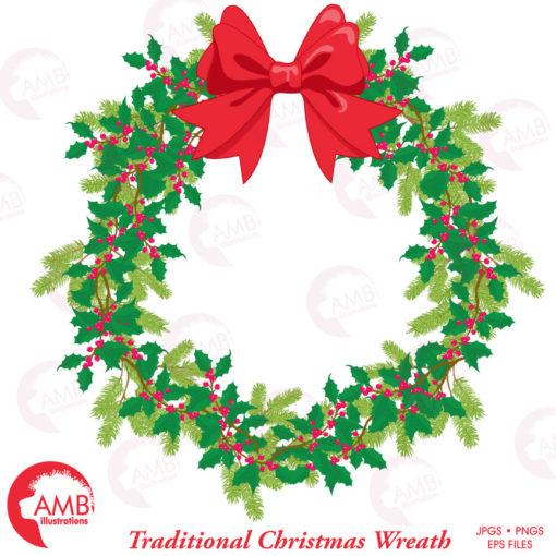 869 Christmas Wreath free clipart.