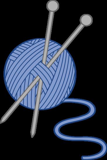Blue Yarn and Knitting Needles.
