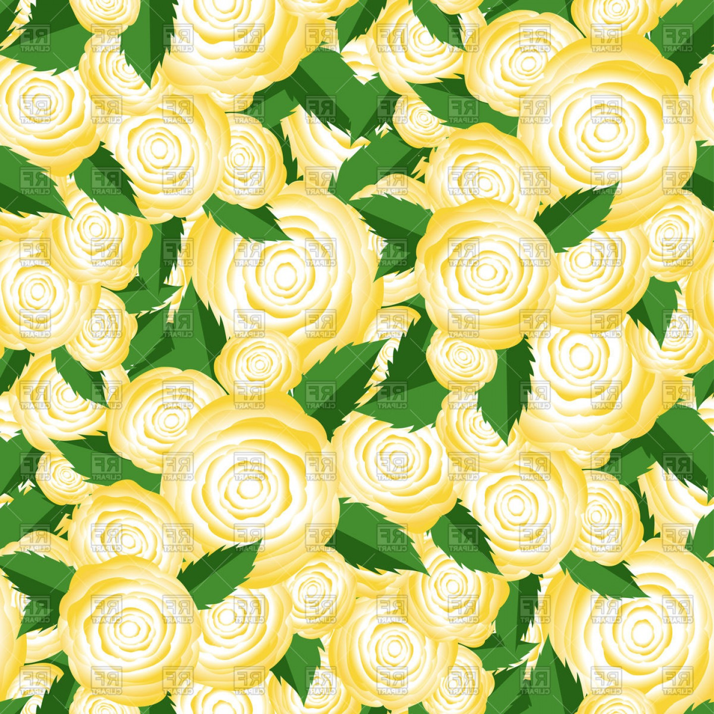 Bouquet Of Yellow Roses Random Seamless Pattern Vector Clipart.