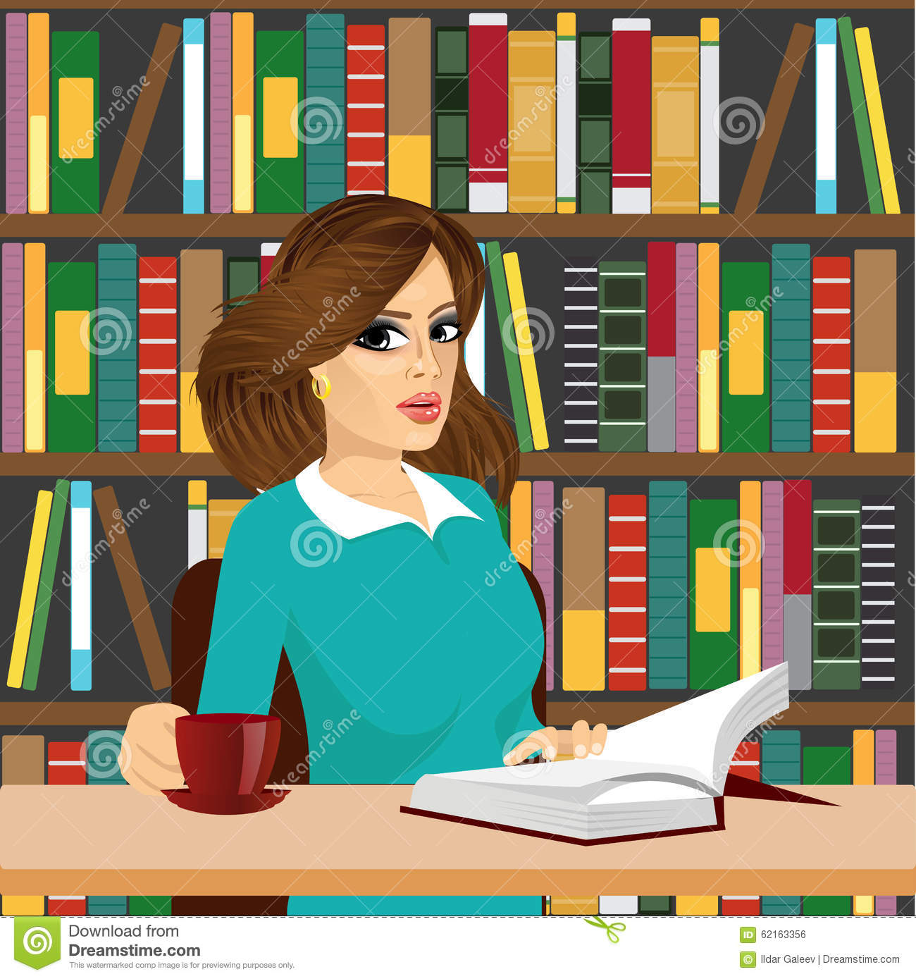 Clipart Of Young Brunette Woman Librarian.