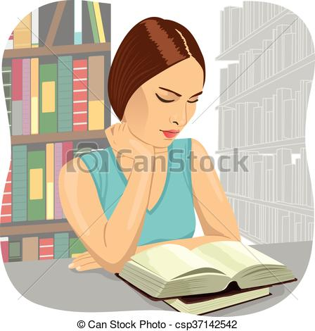 EPS Vector of Serious young student reading a book in a library.