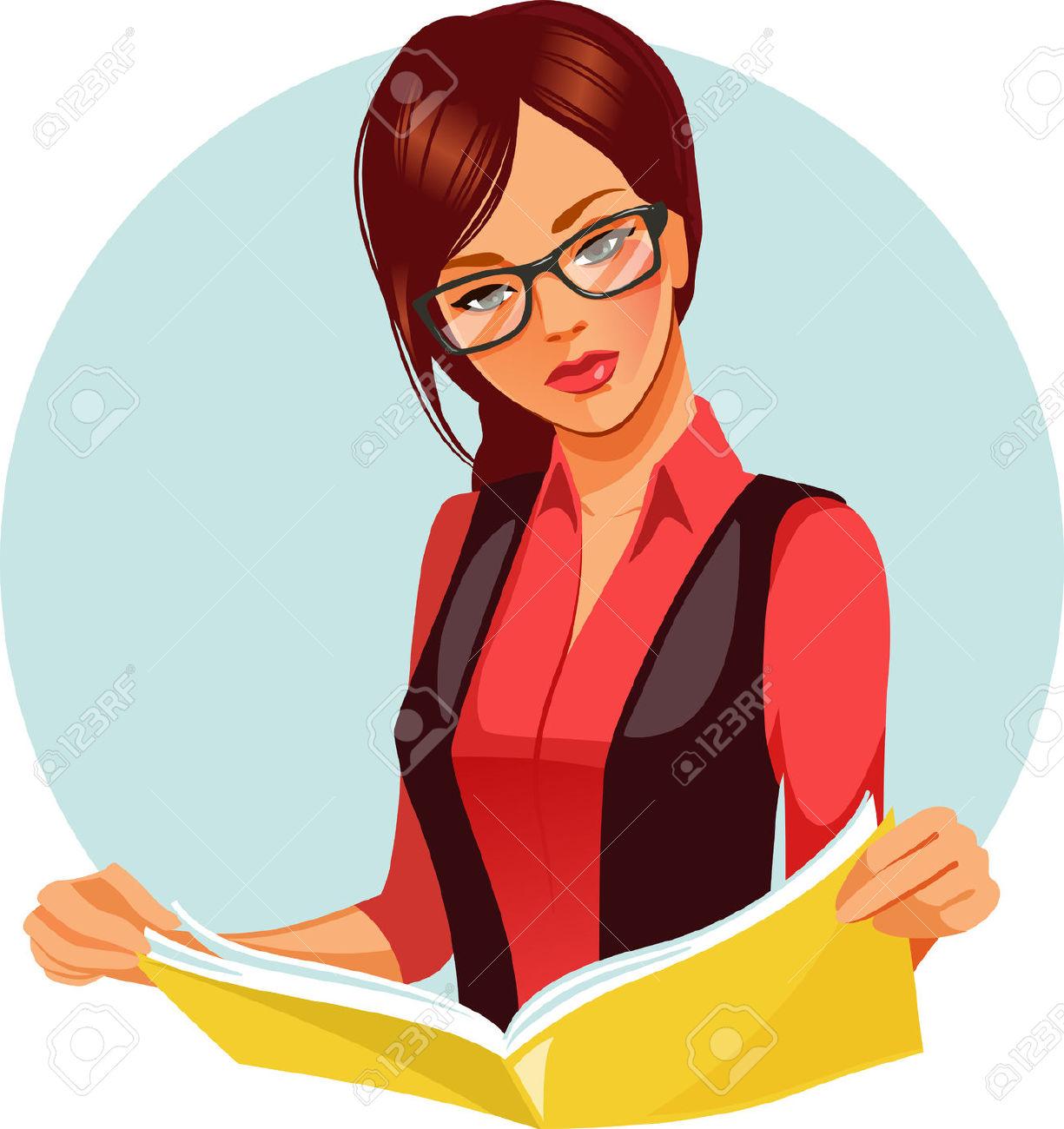 Portrait Of Brunette Woman Reading Book. Beautiful Woman Wearing.