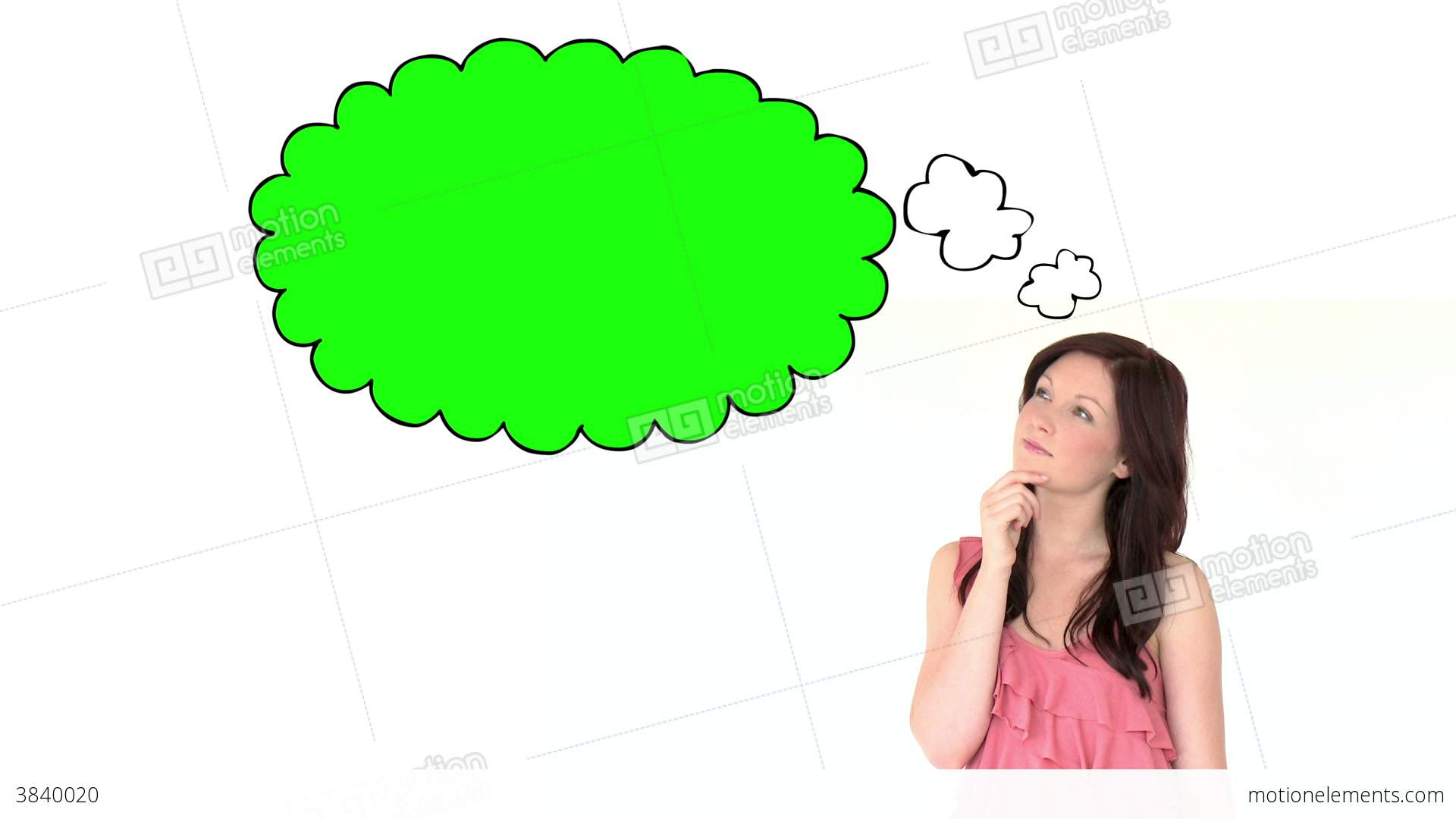 Young Brunette Woman Thinking Stock Animation.