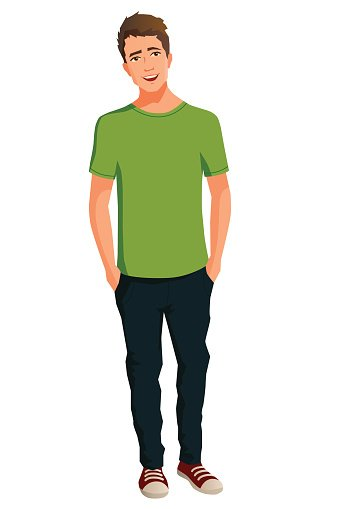cartoon illustration of a friendly smiling young man Clipart.