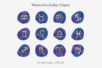 Watercolor And Gold Zodiac Signs, Gold Foil Zodiac Clipart, Horoscope  Symbols.