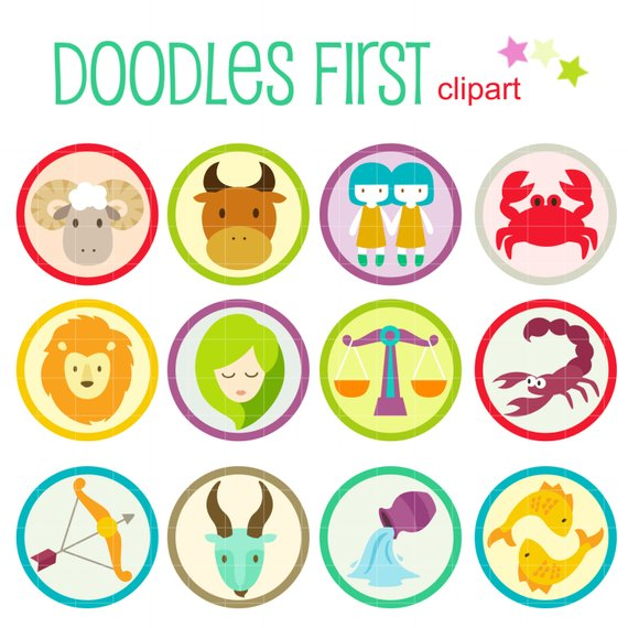 Cute Zodiac Signs Horoscope Digital Clip Art for Scrapbooking Card.