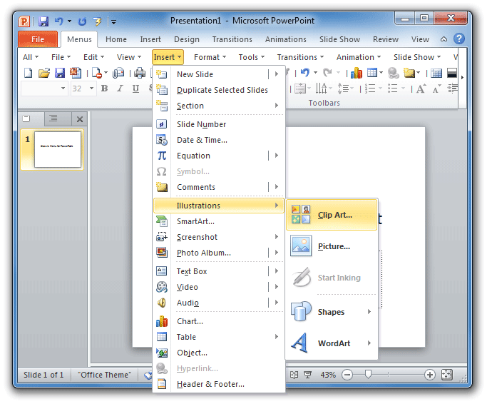 Where is Clip Art in Microsoft PowerPoint 2007, 2010, 2013.
