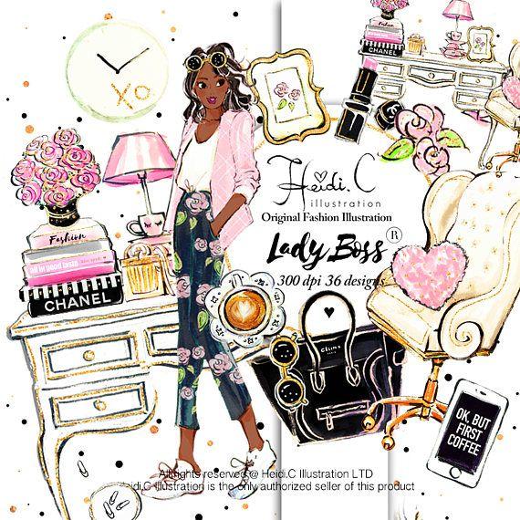 Fashion Clipart Lady boss Office clipart Elegant Clip art.